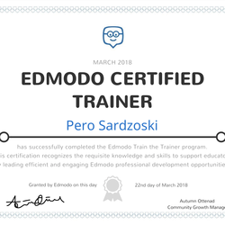 Pero Sardzoski, Education Program Developer and Innovator, Edmodo Certified Trainer, Member of the HundrED Academy, and HundrED Ambassador
